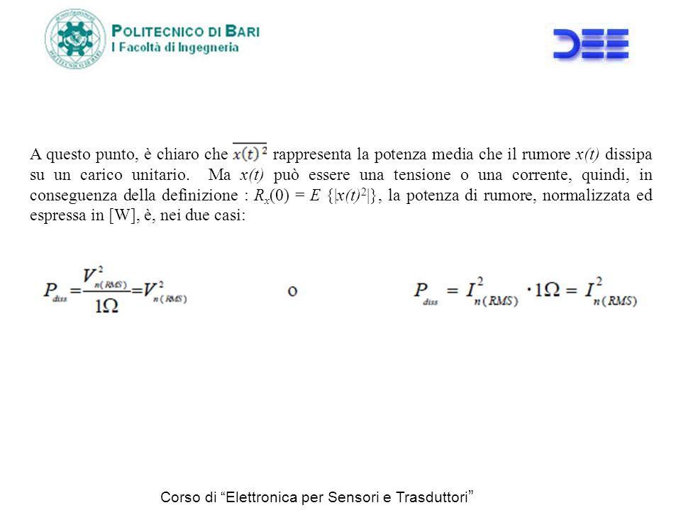 A questo punto, è chiaro che rappresenta la potenza media che il rumore x(t) dissipa su un carico unitario. Ma x(t) può essere una tensione o una corrente, quindi, in conseguenza della definizione : Rx(0) = E {|x(t)2|}, la potenza di rumore, normalizzata ed espressa in [W], è, nei due casi: